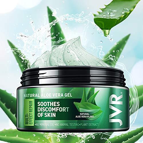 Aloe Vera Gel, JVR Bio Aloe Vera Feuchtigkeitscreme, Natürliche Feuchtigkeitspflege, Sonnenbrand Reparieren, Beruhigende & Pflegende für Gesicht, Haare und Körper 120ml