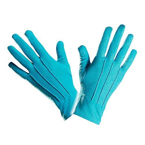 NET TOYS Gants Courts Gants Turquoise avec Piqûre Déguisement Accessoire Gants Pur Femme Déguisement Accessoire Gants de Clown Femme Gants