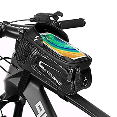 Fahrrad Rahmentasche Wasserdicht Lenkertasche Fahrrad Oberrohrtasche handyhalterung für Smartphone bis zu 6.8 Zoll mit TPU Sensitivem Touchscreen mit Kopfhörerloch für Montainbikes, Rennrad, Ebikes