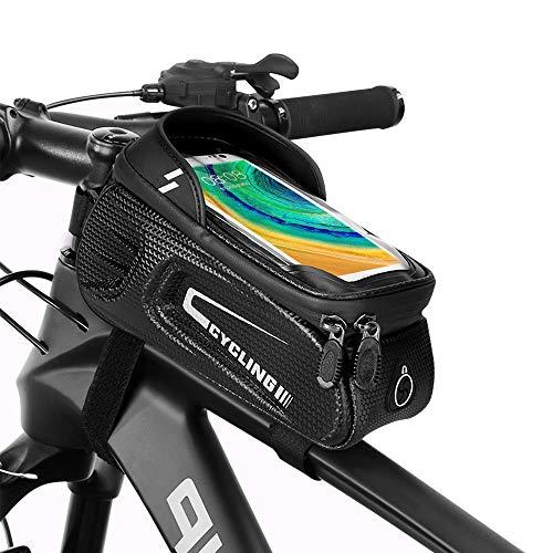 Bolsa para marco de bicicleta, accesorios de bicicleta impermeable con funda para pantalla táctil, bolsa para bicicleta, bolsa de almacenamiento para visera solar con orificio para auriculares
