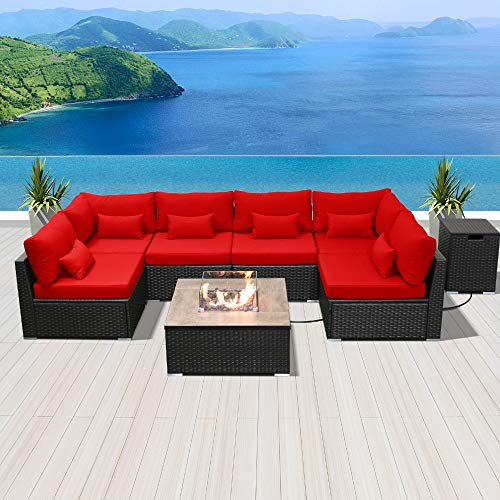 Modenzi Outdoor Sectional Patio Furniture with Propane Fire Pit Table Espresso Brown Wicker Resin Garden Conversation Sofa Set (G7 Sofa Square Fire Pit, Red)