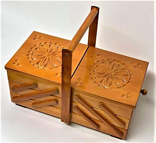 Baúl pequeño marrón vintage costura joyas cosméticos caja de tesoro almacenamiento tela...