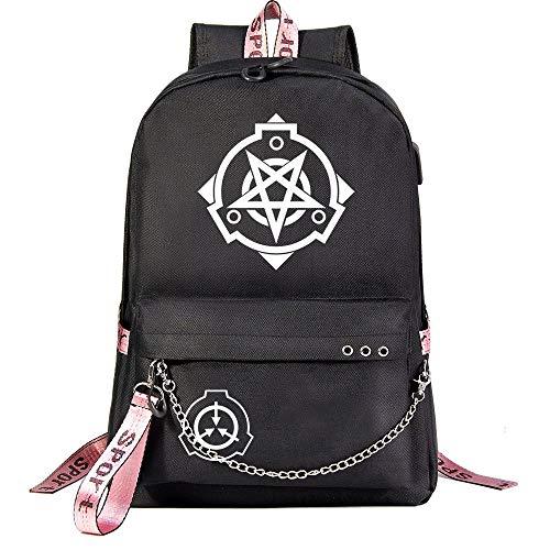 ZZGOO-LL Anime Movie with Chain USB Anime Laptop Backpack Bag Travel Mochilas Daypacks Bolso Ligero Black-E
