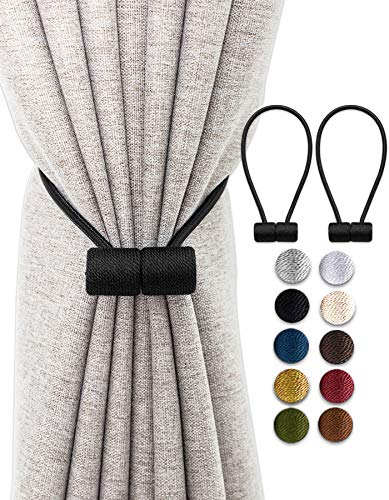 TECVINCI Curtain Tiebacks Drapery Tiebacks with Upgraded Larger Magnet, 2 Pack 16 Inch Decorative Magnetic Curtain Holdback for Blackout/Sheer Window Treatment-Black