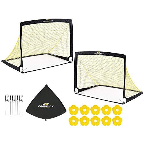 PodiuMax 2er Set Faltbar Pop Up Fußballtor mit 10 x Hütchen, 8 x Bodenanker, Schnell Aufzustellen,Tragbar und Stabil (Groß)