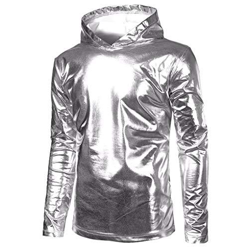 Skxinn Herren Lackleder Hip Hop Pollover Hoodie Hipster Top Shirt Sweatshirts Jacke T-Shirt Oversize Pullover Regular Fit Metallic Glänzend Blouson Kostüm für Nightclub Party Cosplay M-2XL (XXL)