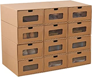 Romancemit Boîte de Rangement de Chaussures en Carton empilable Boîte Pliable Boîte de Rangement de tiroir Visible Maison ...