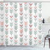 Lunarable Arrow Duschvorhang, Retro-Stil Muster mit Pastellfarben, peruanische Vintage-Kunst-Motive, Stoffstoff, Badezimmer-Dekor-Set mit Haken, 178 cm lang, Grün Pfirsich