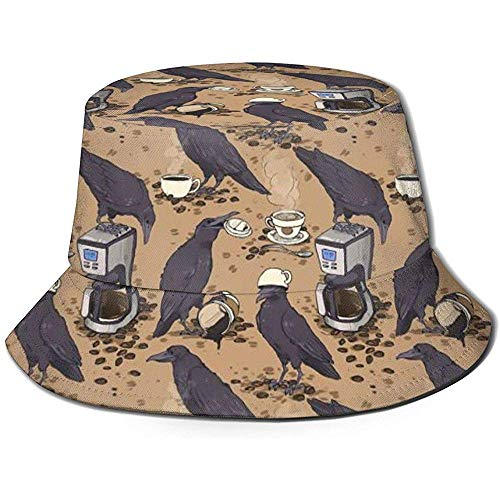 William Bacon Bucket Hat Packable Reversible Ravens und Coffee Print Sonnenhut Fischerhut Cap Outdoor Camping Angeln Safari