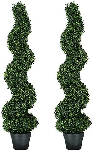 MY LUNA HOME 4ft Topiary Trees Artificial Outdoor Spiral Boxwood for Home and Office Decor Fake product image