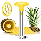 Pelador de piña y cortadora cortadora de acero inoxidable fácil cocina fruta herramienta rebanadora de piña pelador de piña 3 en 1 amarillo