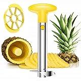shun yi éplucheur/évideur/trancheur d'ananas 3 en 1 en acier inoxydable jaune