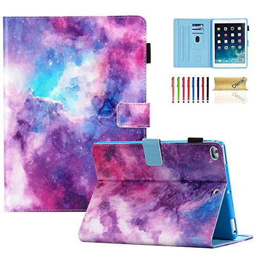 Dteck iPad 9.7 Case 2018/2017, iPad Air 1 2 Case, Slim Fit Folio [Pencil Holder] Multi Angle Stand Auto Sleep Wake Smart Case with Soft TPU Back Cover for Apple iPad 9.7 6th 5th Gen, Air 1 2, Galaxy