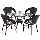 Gartenmöbel Set,Gartenstühle 5er Set, 4 Stühle bistrostühle Garten,gartenstuhl Rattan Sitzgruppe Balkonset Balkonmöbel Balkontisch Mit Stühlen