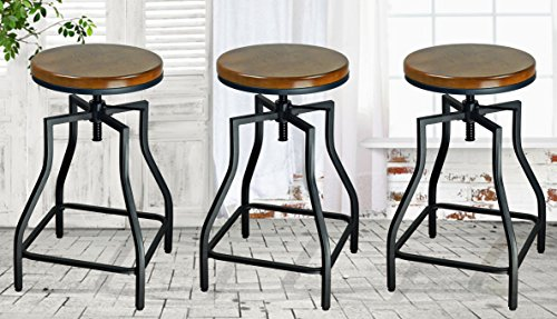 eHemco 24-29'' Adjustable Swivel Metal Barstool with Wood Veneer Seat