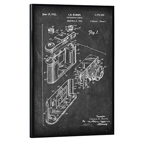 artboxONE Poster mit schwarzem Rahmen 90x60 cm Film Retro Fotoapparat II (Tafel) - Bild antike fotoapparat