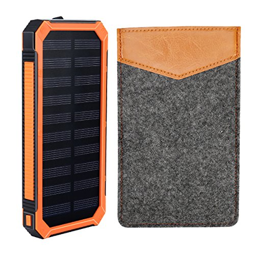 Solar Charger, Winn-tech Solar Power Bank Phone Charger 15000mAh Portable Charger with 2 Fast Charging USB 6 LED Light Solar Panel Battery Pack with Leather Case for all Smartphone Tablet