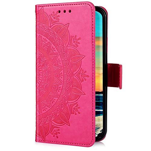 Uposao Kompatibel mit Samsung Galaxy A21S Handyhülle Leder Hülle 3D Mandala Blume Muster Brieftasche Klapphülle Flip Case Schutzhülle Ständer PU Ledertasche Magnet Kartenfach,Rose Rot