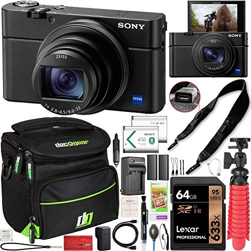 Sony Cyber-Shot RX100 VII RX100M7 4K UHD Camera DSC-RX100M7 w/Zeiss 24-200mm Zoom Lens Power Bundle with Deco Photo Strap w/Built in Camera Charging + 2X Battery + Case + Tripod Grip & Accessories