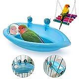 Baignoire à oiseaux avec miroir, accessoires de baignoire à suspendre et balançoire pour petits perroquets
