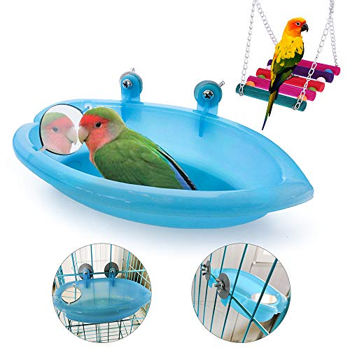 Vogeltränke mit Spiegel, hängende Vogeltränke, Vogeldusche, Badewannenzubehör und Schaukel-Spielzeug für kleine Papageien, Sittiche