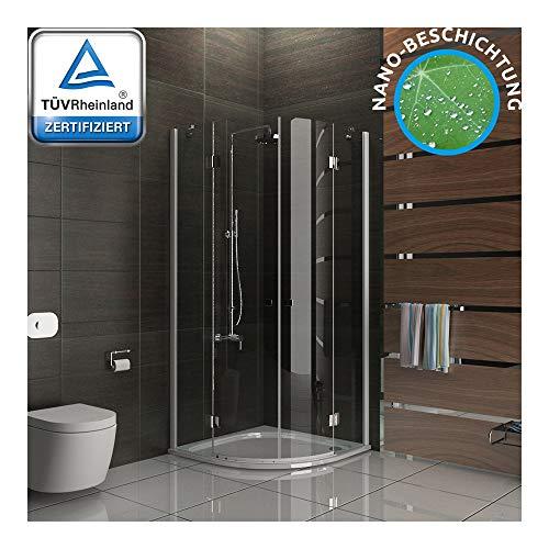 Alpenberger kwartcirkel douchecabine 80 x 80 x 195 cm 2-deurs met nanocoating EasyClean | ronde douche van veiligheidsglas ESG (6mm) | Voor hoekinbouw als kwartcirkel | Perfect sluitgedrag