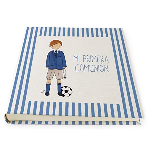 Cuadriman - Álbum de Fotos de Comunión - Mario - Greca de Rayas Color Azulón- 30 x 30 cm.