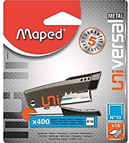 Maped Universal Metal 044600 Agrafeuse mini N°10 + 400 Agrafes Coloris Aléatoire