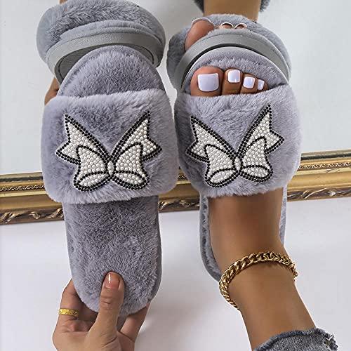 Pelusa Zapatillas de Casa,Zapatillas de Zigong de Gran tamaño, de otoño e Invierno Zapatillas de Invierno.-Gris_37,Pantuflas de algodón en Forma