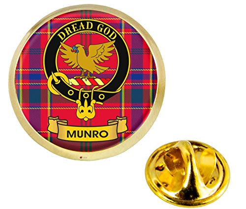 Munro Scottish Clan Crest Lapel Pin Badge in Gold Colour Product Of Scotland