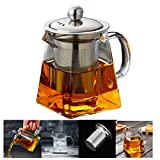 PluieSoleil Glass Teapot 350 ml Teapot for One with Heat Resistant Stainless Steel Infuser Perfect for Tea and Coffee (350ML)