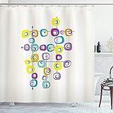 N\A Mid Century Duschvorhang, Hippie-Quadrate auf Sich kreuzenden Linien Farbige Coole & verrückte thematische Kunst, Stoff-Stoff-Badezimmer-Dekor-Set mit Haken, Gelbblau
