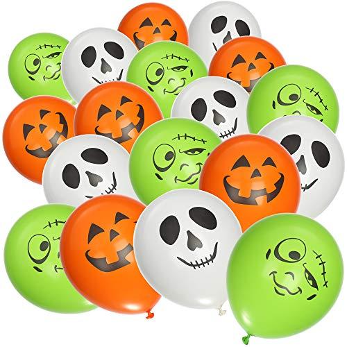 com-four® 18 Palloncini LED, Palloncini Colorati con Illuminazione a LED per Halloween, Divertenti Motivi Spaventosi, lampade a LED con Cambio Colore Automatico