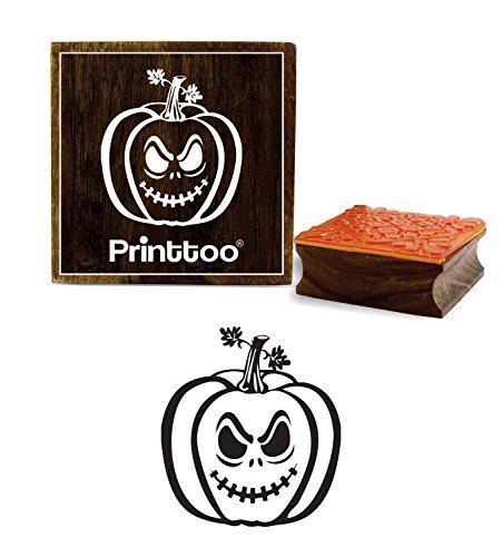 Printtoo Halloween Kuerbis Gesicht Design Square Holz Stempel Karte Print-5 x 5 Zoll