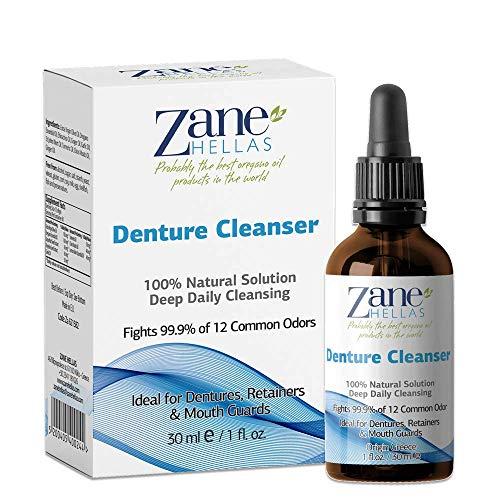 Zane Hellas Limpiador para dentaduras postizas (Denture). Aceite de orégano. Ideal para dentaduras postizas, retenedores, aparatos ortopédicos y protectores bucales.1 fl.oz - 30ml