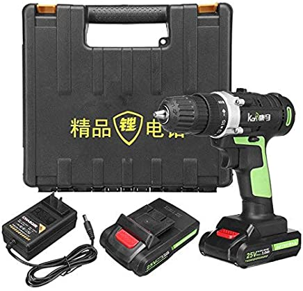 25V 3.0Ah Cordless Electric Impact Wrench Kit Drill 3/8'' Screwdriver 2 Battery Li Battery Hand Drill Installation Power Tools : 2 battery