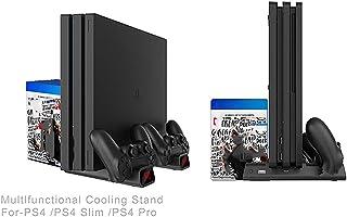 Suporte vertical PtevSoh para console PS4 / PS4 Slim / PS4 Pro, cooler PS4 com ventilador duplo, suporte para 10 jogos, es...