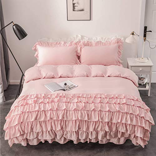 LZstrong Pure Color Duvet Cover Set, Washed Cotton Fabric, Lotus Leaf Lace Edge Design, Including Pillowcase and Bed Skirt, Super Soft, Comfortable (Pink,Single)