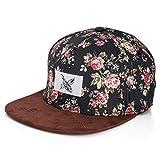 Blackskies Black Beauty Vol. III Snapback cap   Hat Floreale Berretto da Baseball Floreale Fiori Uomo Donna Cappello 5-Panel Rosa Nero Scamosciato