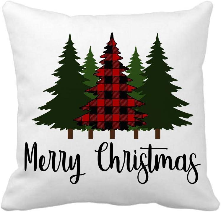 Black and White Buffalo Checkered Pine Tree Christmas Pillow Cover
