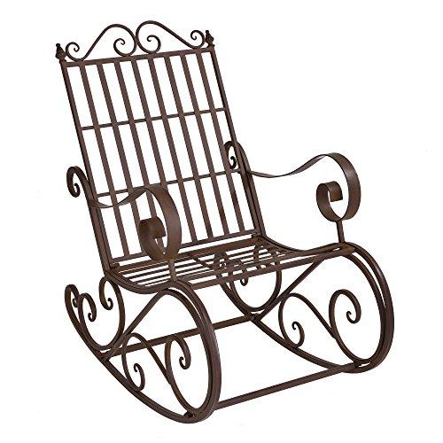 [en.casa] Schaukelstuhl Geraldton 92x59x90cm Schaukelsessel im Landhausstil Schwingsessel für Garten Metall Braun