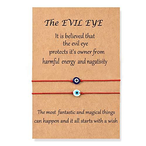 Shonyin Evil Eye Bracelet Red Lucky String Protection Kabbalah Ojo Turco Mal De Adjustable Bracelets Nazar Amulet Jewelry for Women Men Father Family Friend 2pcs