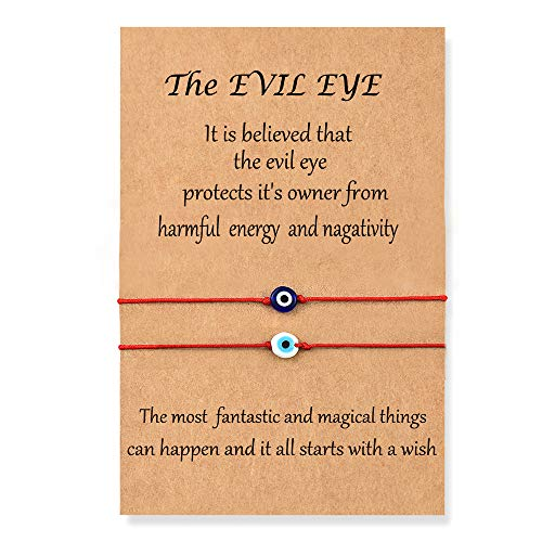Shonyin Evil Eye Bracelet Red Lucky String Protection Kabbalah Ojo Turco Mal De Adjustable Bracelets Nazar Amulet Jewelry for Women Men Father Family Friend kids 2pcs