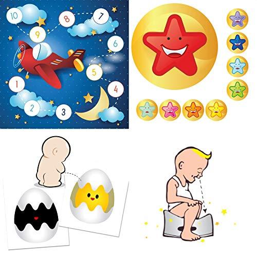 Pot de sport pour bébé et enfant avec autocollants amusants et systèmes de récompense – « Fly to the Stars » avec autocollant coloré
