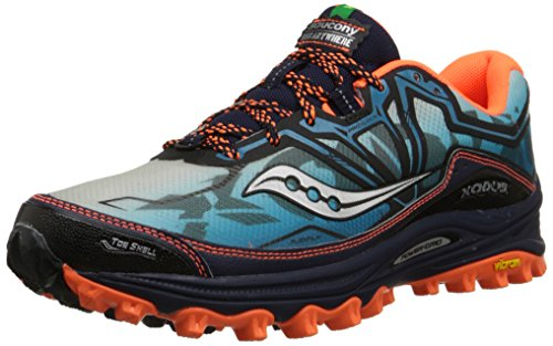 Saucony Men's Xodus 6.0 Running Shoe, Blue/Orange,8 M US