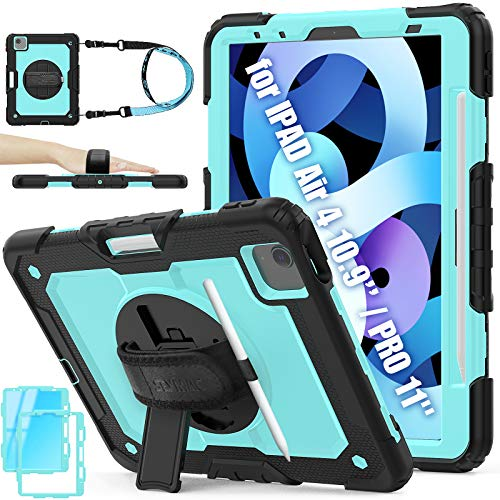 iPad Air 4 Case 2020 10.9 Inch, Shockproof Hybrid Drop Protection Rugged Case with [360 Rotating Stand/Hand Strap] Pencil Holder & Screen Protector for iPad Air 4th Generation 2020(Sky Blue+Black)