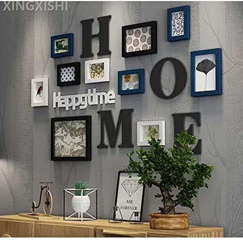 XINGXISHI Bilderrahmen Collage Fotorahmen Collage Massivholz Kombination Wohnzimmer Fotorahmen Wand kreative Restaurant Hintergrund Wanddekoration (Schwarz Weiß Blau)