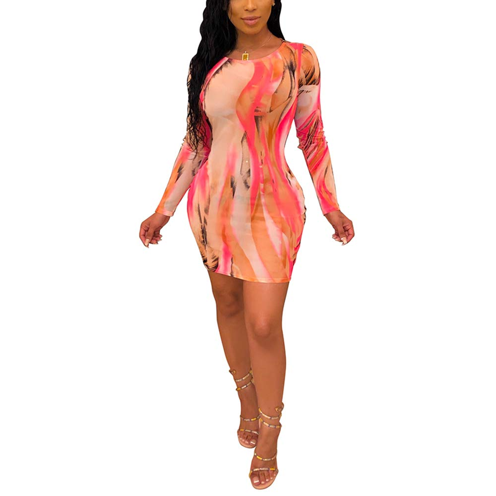 Available at Amazon: ECHOINE Women Casual Mini Dress - U Neck Long Sleeve Splash-Ink Printed Bodycon Club Dresses