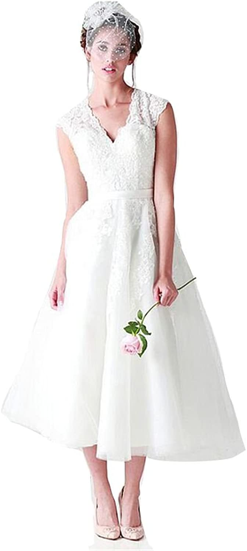 Sunnygirls Stunning Tulle Vneck Neckline ALine Tealength Wedding Dresses With Beaded