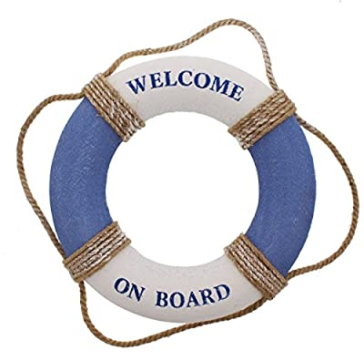 Juvale Life Ring Welcome on Board - Life Ring Swim Tube Decoration DecorLife Ring Greeting Blue White Nautical - 12.5 Inches